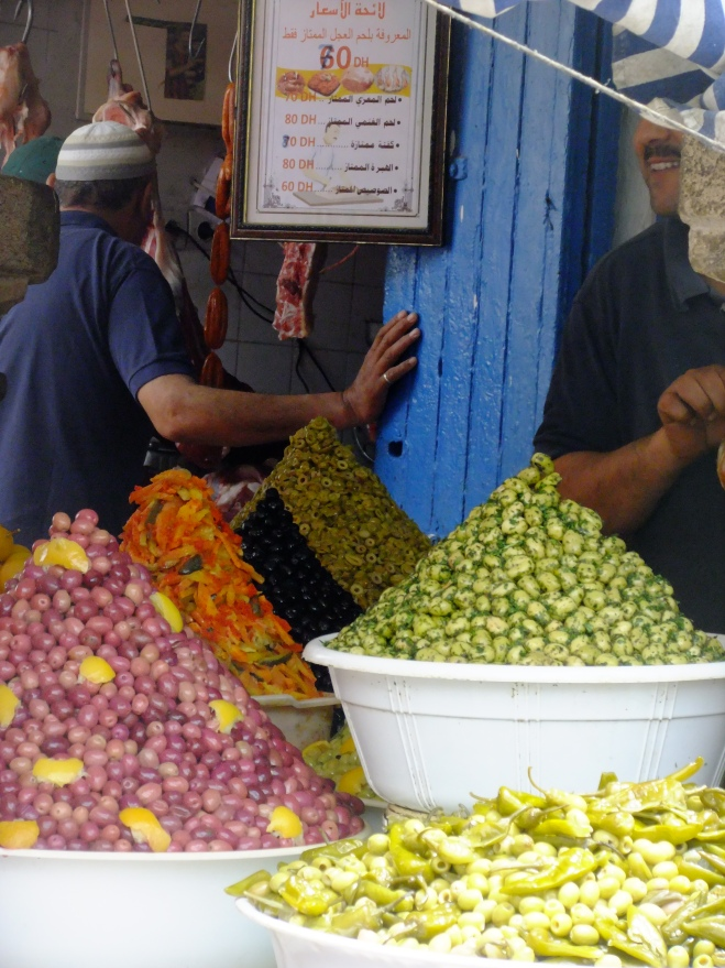 An olive stall in Marrakech.