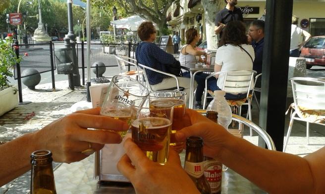 Salud! A beer in El Escorial.